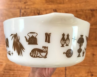 1960s Early American Pyrex White and Brown Casserole Dish