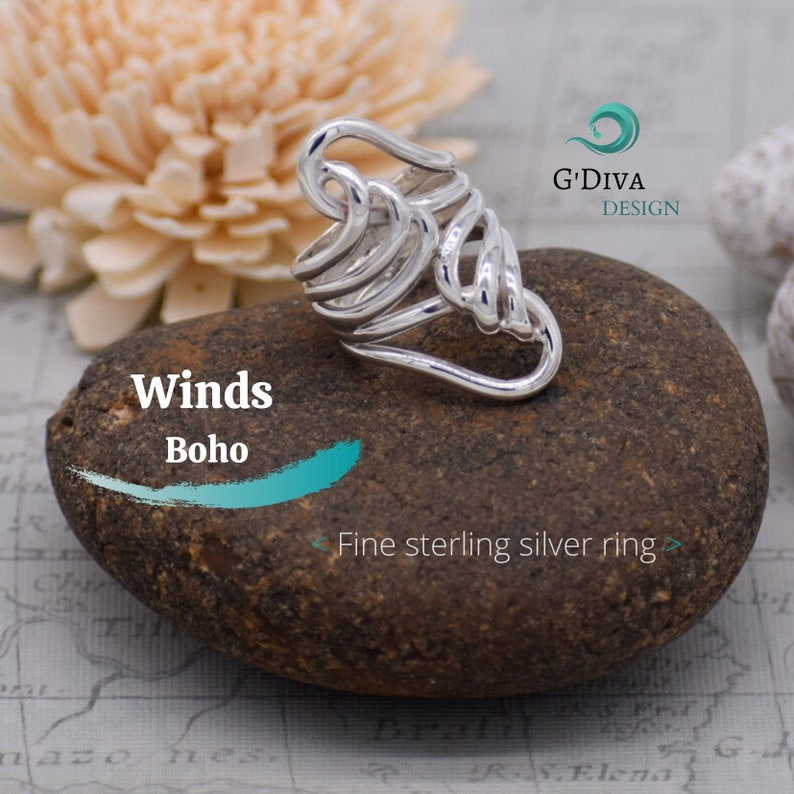 Sterling Silver Ring for woman Bohemian Ring Wire Wrap Ring Band Statement Silver Ring,Boho Silver Ring Solid Silver,Chunky Silver Ring.