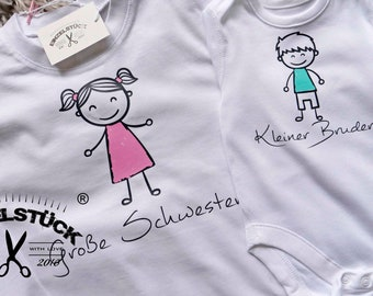 Bodyand T-shirt for siblings. Short or long sleeve. All combinations possible. Perfect gift for birth or photo shoot. By name