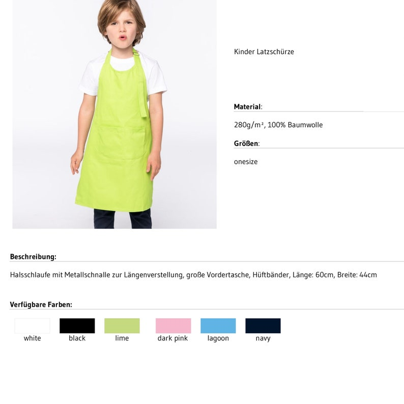 Imprint ink freely selectable.100/% cotton cute motif and name personalized in 6 colors Cute children/'s apron with pockets