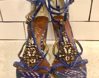9f660961992fdd Sam Edelman Blue Beaded Platform Wedge Sandals 8