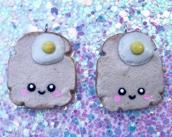 Kawaii Toast & Egg Charm