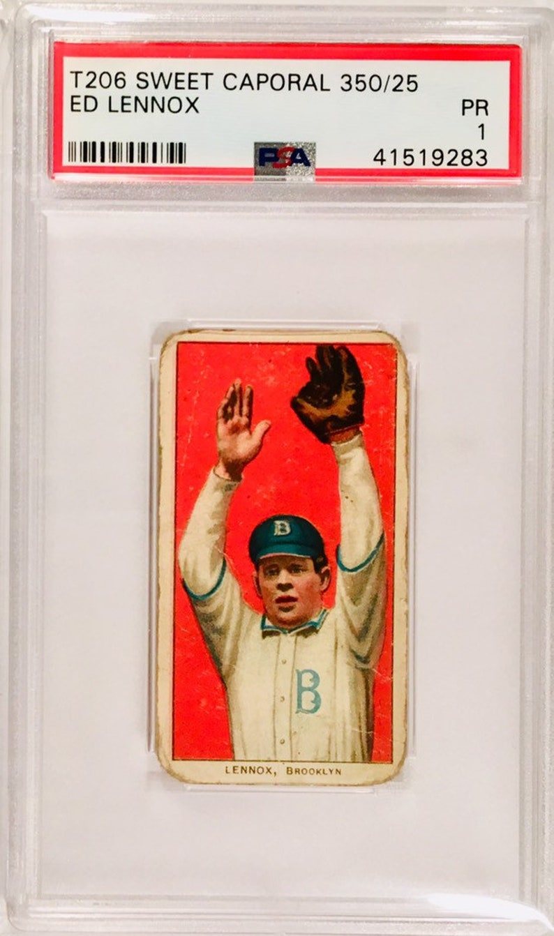 Vintage Baseball Card 1909 1911 T206 Ed Lennox Brooklyn Sweet Caporal