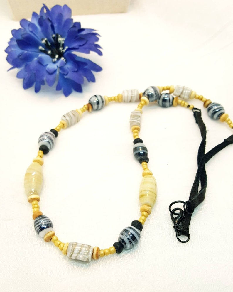 wood and glassbeads upcycled jewelry unisex gift masculine lampwork beads Beaded Glass Necklace leather necklace black leather
