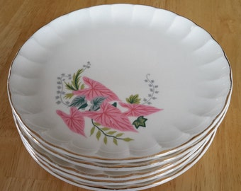 Set of 6 Vintage W.S George Colonial Couple 22K Gold 7 Salad Plate Made in USA Rare American Porcelain Bolero Dinnerware 1940s