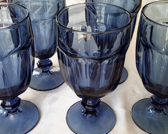DURATUFF Dusky Blue Gibralter Goblets. Beautiful Vintage Libbey Glass Duratuff Stemmed Water Glassware