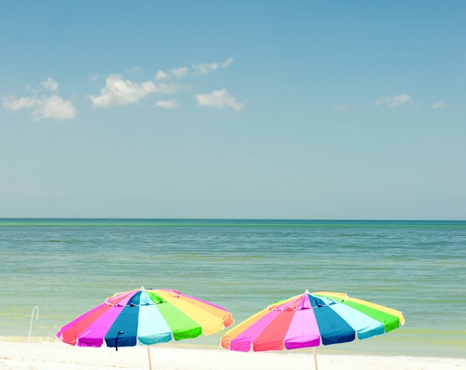 """Featured listing image: Photography PRINT - Wall Art Decor - """"Two Colorful Umbrellas - Honeymoon Island"""""""