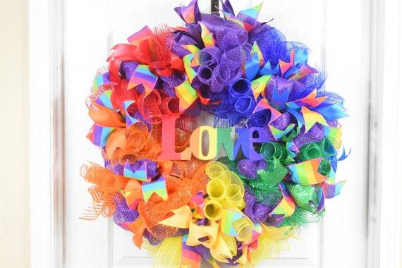 Gay Pride Wreath Door Wall Home Decor Rainbow Feathers LGBTQ