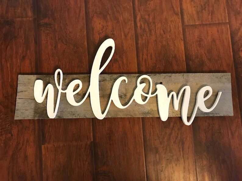 Welcome Reclaimed Board Sign image 0