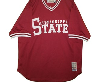 e08eee37a44 Mississippi State Bulldogs - Embroidered Maroon Palmiero Vintage Throwback  Jersey