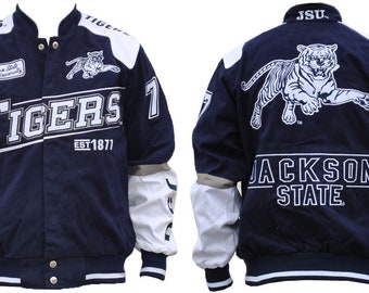 Jackson State Tigers - Navy Blue Racing Jacket With White Text
