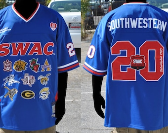 2849aecb002 Blue Swac Championship Team Logo Heavyweight Throwback Football Jersey