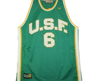 15d1fca66 San Francisco Dons - Vintage Green Bill Russell Throwback Jersey
