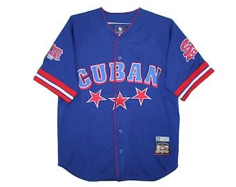 Cuban Stars - Vintage Embroidered Blue Baseball Jersey c053198625