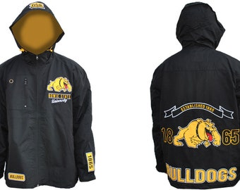 Bowie State Bulldogs - Black Hooded Rain Jacket With Yellow Logo