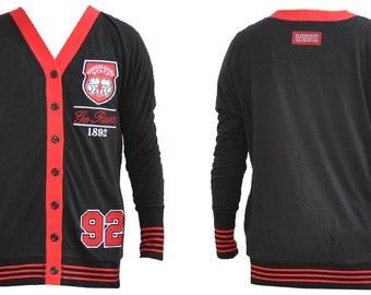 Winston-salem State Rams - Black Light Cotton spandex Cardigan With Red  Accent 660cdd456