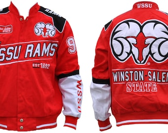 Winston-salem State Rams - Red Racing Jacket With White Text 6fa5c74cc