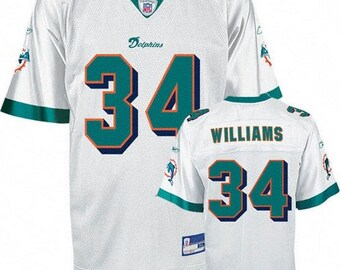 f89dd208ba1 Miami Dolphins - Ricky Williams #34 White Vintage Throwback Jersey