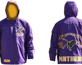 Prairie View A&m Panthers - Purple Hooded Rain Jacket With Yellow Logo