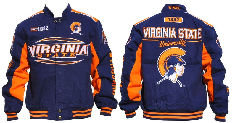 Virginia State Trojans Navy Blue Racing Jacket With Orange Logo