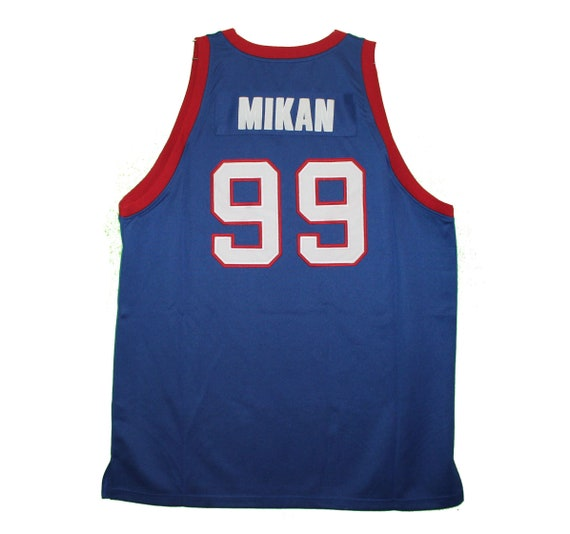 on sale db81d 49f51 Depaul Blue Demons - Embroidered Blue Mikan Vintage Throwback Jersey