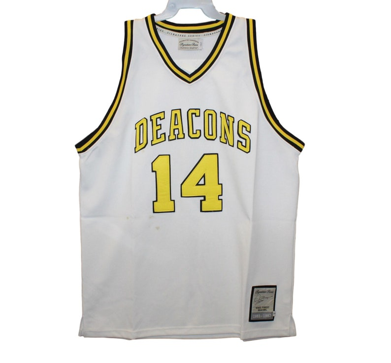 super popular 5ae81 53cbd Wake Forest Deacons - Muggsy Bogues #14 White Throwback Jersey