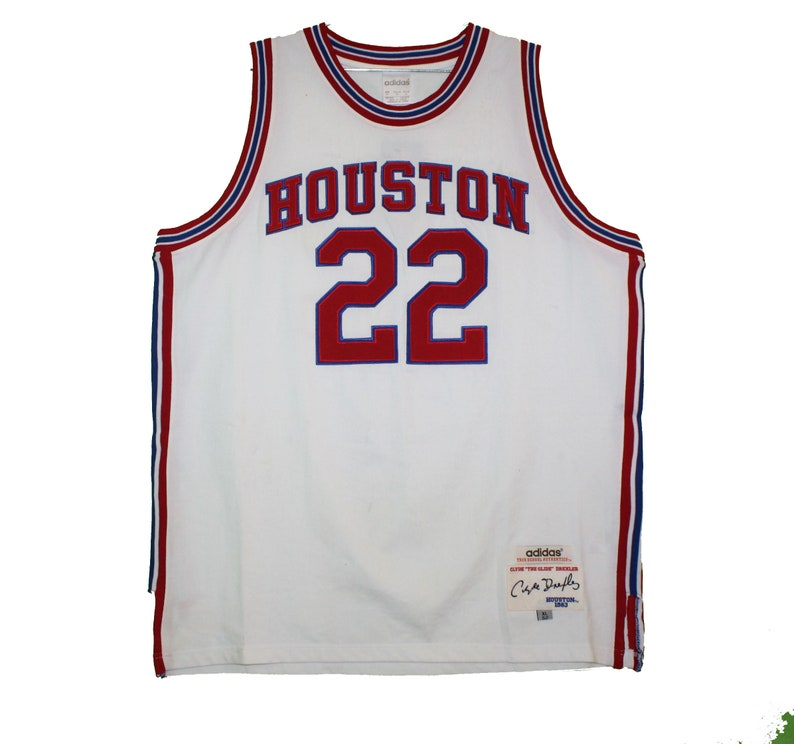 hot sales bfff5 6f738 Houston Cougars - Vintage Throwback White Drexler Jersey