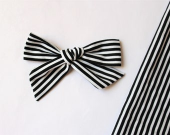 Black and White Stripe Fabric Bow