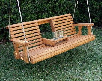 Porchgate Amish Heavy Duty 800 Lb Rollback Console Treated Porch Swing With Hanging Ropes