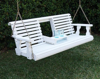 Porchgate Amish Heavy Duty 800 Lb Rollback Console Treated Porch Swing With Hanging Chains