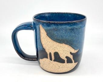 17 Oz. Handmade Ceramic Wolf Mug - Mountain - Free Shipping - Made in Tennessee