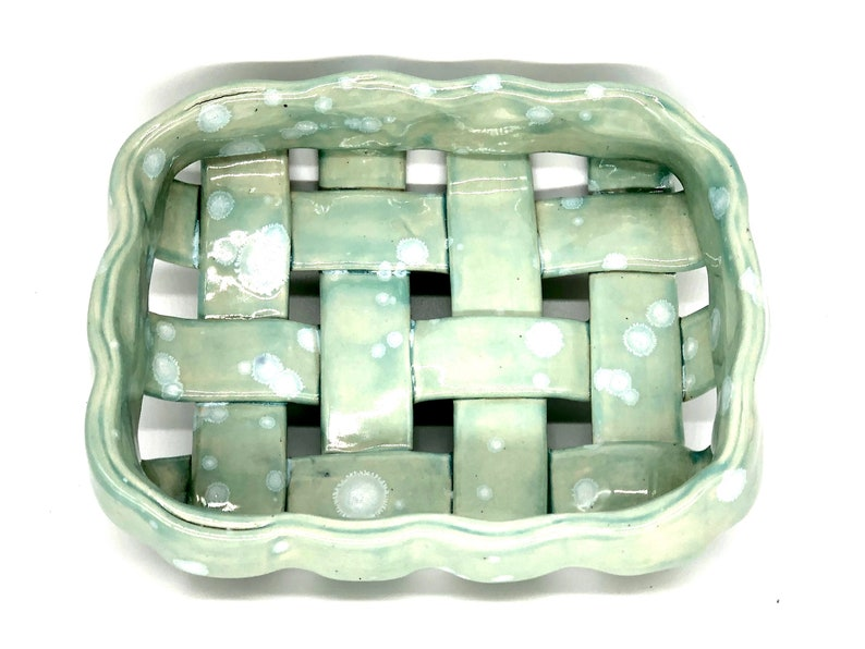 Free Shipping WB0006 Handmade Ceramic Woven Shallow Bread Basket Celadon Bloom Made in Tennessee