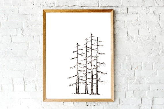 Watercolour Winter Pine Tree Print | Landscape Painting | 5 x 7 | 8 x 10 | Simple Art for Outdoors Lover | Fine art print