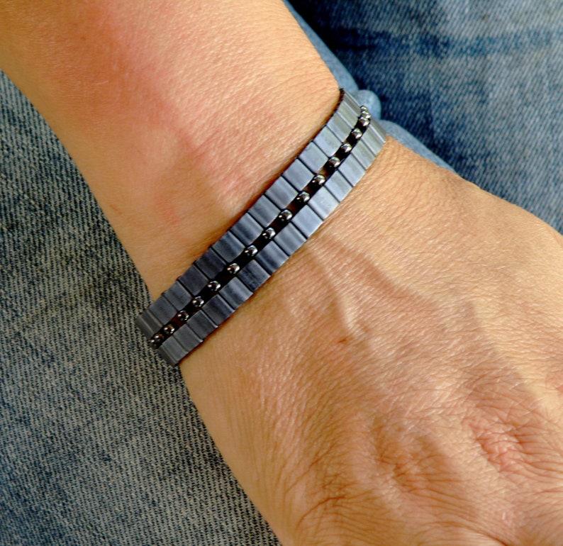 gift for women women bracelet bronze beaded modern contemporary sleek chic adjustable flexible bracelet Valentines Day gift idea