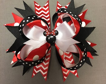 6' Minnie Mouse boutique stacked hair bow