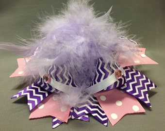 """Over the top large 7"""" boutique bow with feathers"""