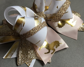 "6"" Gold Glitter Feather Unicorn Boutique Stacked Hair Bow"