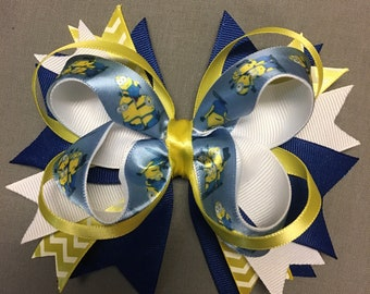 """6"""" Minion Blue White and Yellow Boutique Stacked Hair Bow"""