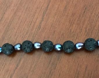 Black Pearl & Lava Necklace