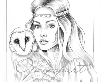 Slavic Beauty 9. Printable coloring page for adults. 2 pdf files: black and grey version.