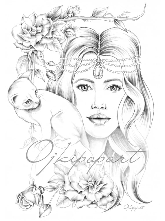 blac and gray version. 2 pdf files Slavic Beauty 2 Printable coloring page for adults