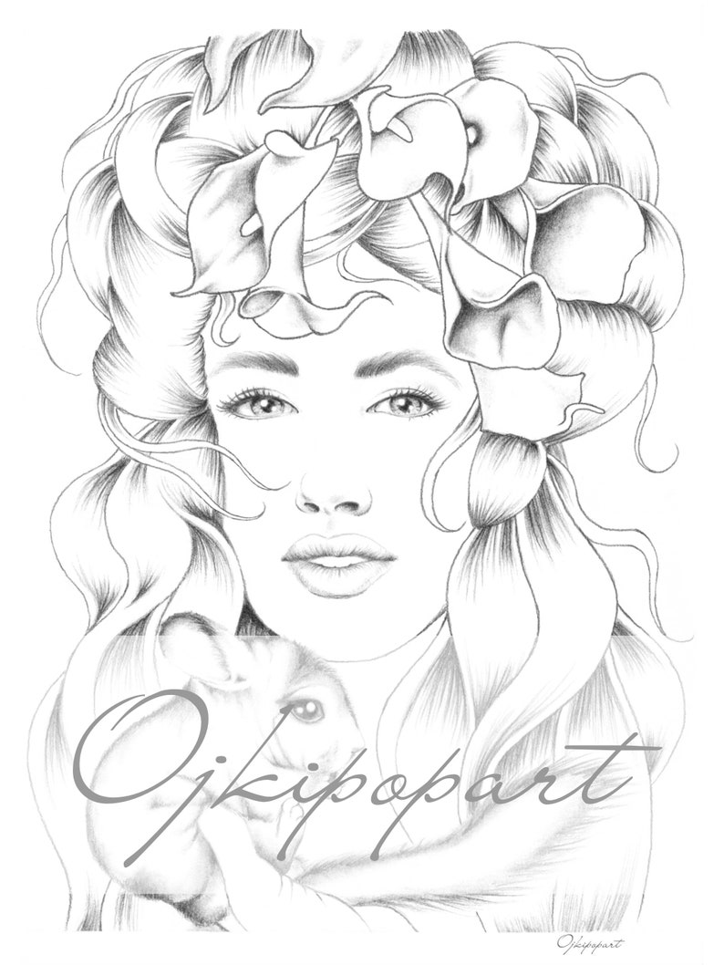 Face Carousel 2  Printable coloring page for adults  2 pdf files: dark and  bright version