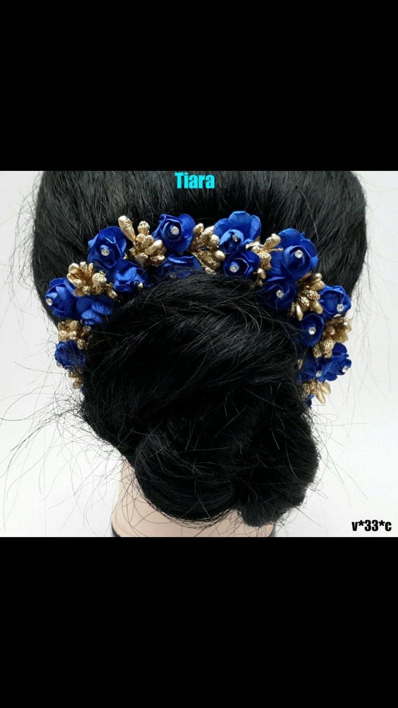 indian women bridal blue rose hair accessories tiara,beach wedding,flower  gajra,hair bun, juda,wedding hair accessories for womens & girls