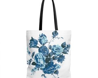 Aop Beautiful Blue Flower Tote Bag