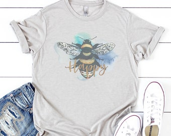 44838c34b Watercolor Bee Happy | Be Happy Shirt | Mom LIfe | Mom Tee | Graphic Tee |  Southern Sayings | Happiness Matters | Be Nice | Honey Bee