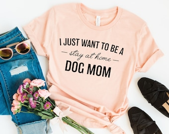 Stay At Home Dog Mom Off The Shoulder Tops Sweatshirt Dog Mama Dog Lovers