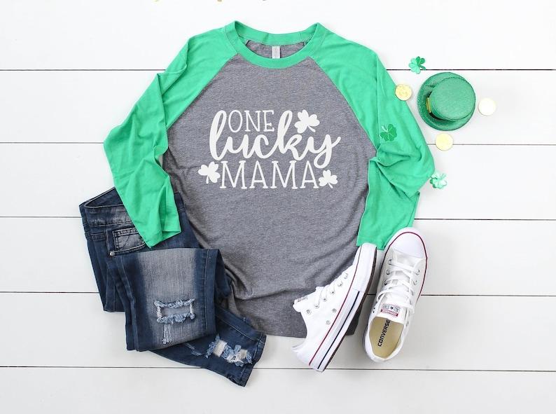 0605aadd7 Vintage Green Raglan One Lucky Mama St. Patricks Day | Etsy
