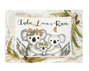 Koala Siblings Custom Print, Gift For Siblings, Personalised Sibling Print, Brother Sister Print, Custom Siblings Gift, koala art