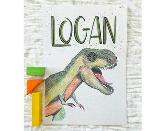 Custom Name Print Tyrannosaurus Rex  - Personalised T-Rex Print - Dinosaur Wall Art - Customised Dinosaur Kids Room Print- Boys Room Decor -
