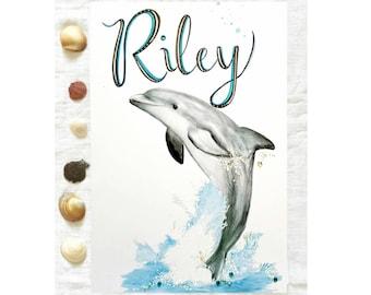 Custom Dolphin Print, Dolphin Nursery Print, Personalised Dolphin, Kids Wall Art